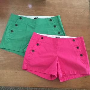 J. Crew Stretch Shorts (2 pairs) - Pink, Green